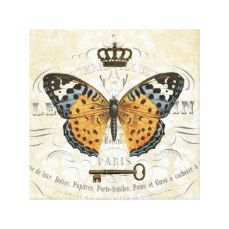Vintage French Butterfly stretched canvas Gallery Wrapped Canvas