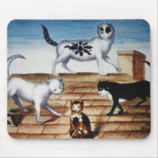 Vintage French Cats on a Roof Mouse Pad