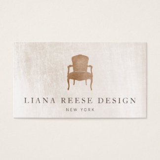 Vintage French Chair Brushed Ivory Marble Business Card