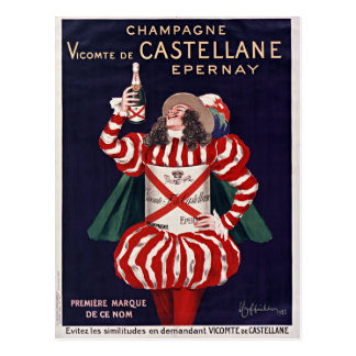Vintage French champage poster Vicomte Postcard