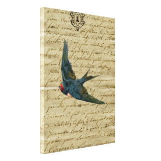 Vintage French Chic Bird Print Flying Swallow Stretched Canvas Prints