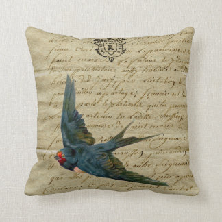 Vintage French Chic Bird Print Flying Swallow Cushion