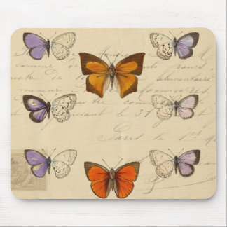 Vintage French Chic Butterflies Pattern Mouse Pads