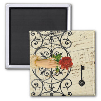 Vintage french chic noir mystery hand Iron gate Refrigerator Magnets