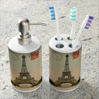 Vintage French Chic Paris Eiffel Tower Soap Dispenser And Toothbrush Holder