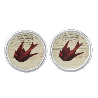 Vintage French Chic Red Cardinal Design Cufflinks