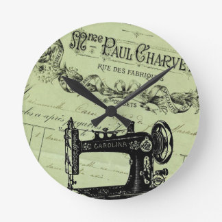Vintage French Chic Sewing Machine Wall Clock
