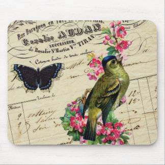 Vintage French Chic Spring Bird Collage Mousepad
