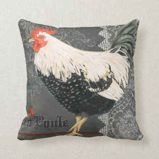 Vintage French Chicken pillow greys blacks creams