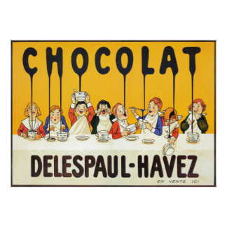 Vintage French Chocolate Kids Kitchen Art Poster