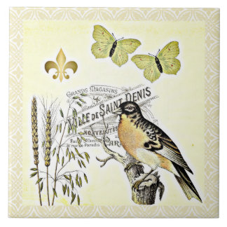 Vintage French Collage Bird Butterfly Fleur Tile