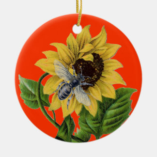 Vintage French Country Sunflower Honey Bee Ornaments