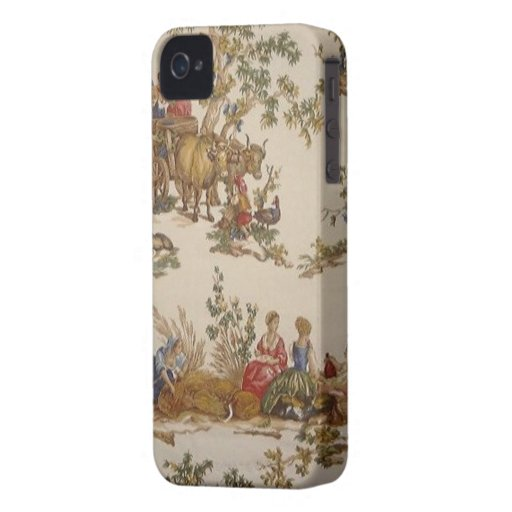 Vintage French Country Toile Blackberry Bold Blackberry Cases