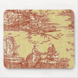 Vintage French Country Toile Red Yellow Mousepad