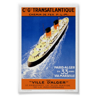 Vintage French Cruise Ship Transatlantique Travel Poster