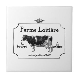 Vintage French Dairy With Vintage Cow Small Square Tile