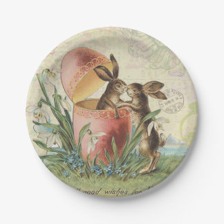 Vintage French Easter bunnies 7 Inch Paper Plate