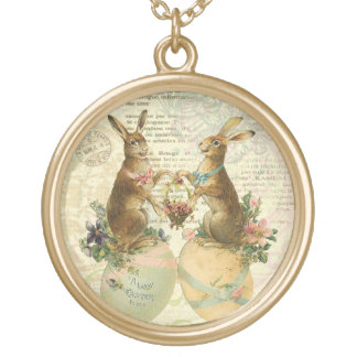 Vintage French Easter Bunnies charm necklace