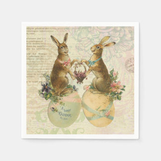 Vintage French Easter bunnies Paper Napkin