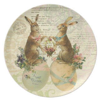 Vintage French Easter Bunnies plate