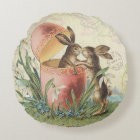 Vintage French Easter bunnies Round Cushion