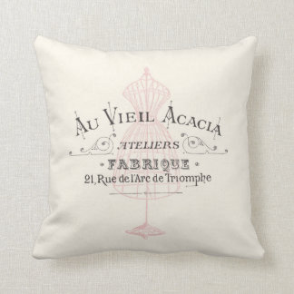 Vintage French Fabrique Fleura Pink Cushion