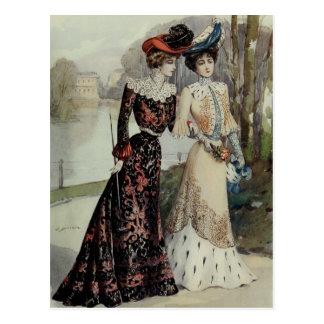 Vintage French Fashion – Black, Peach Dress Postcard