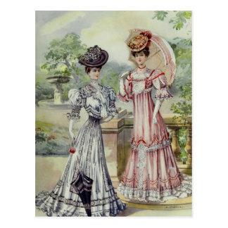 Vintage French Fashion- Gray, Pink Dress Postcard