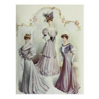 Vintage French Fashion – Gray, Violet Dress Postcard