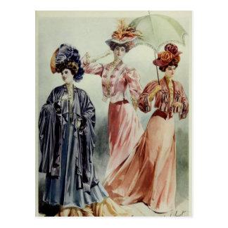 Vintage French Fashion-Pink, Gray, Peach Dress Postcard