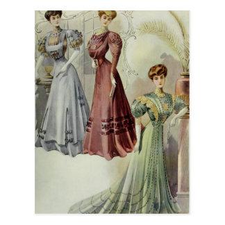 Vintage French Fashion – Red, Gray, Green Dress Postcard