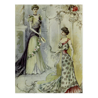 Vintage French Fashion – White and Red Dress Postcard