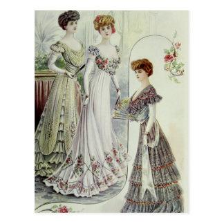 Vintage French Fashion – White, Green, Gray Dress Postcard