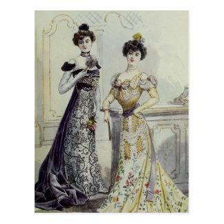Vintage French Fashion – Yellow, Black Dress Postcard