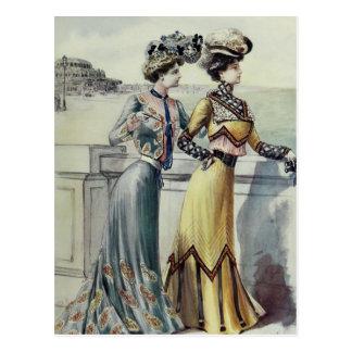 Vintage French Fashion-Yellow, Gray Dress Postcard
