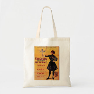 Vintage French Fencing Competition Poster Budget Tote Bag