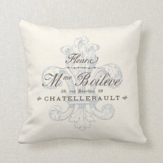 Vintage French Fleura Chatellerault Region Throw Pillow