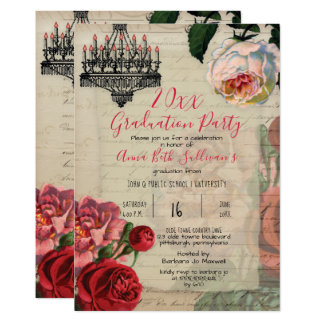 Vintage French Floral Boho Graduation Party Card