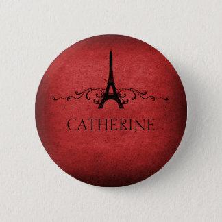 Vintage French Flourish Button, Red 6 Cm Round Badge