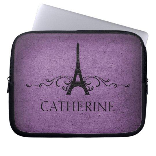 Vintage French Flourish Laptop Sleeve, Purple Laptop Sleeve