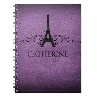 Vintage French Flourish Notebook, Purple Notebooks