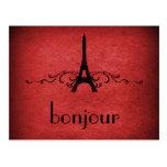 Vintage French Flourish Postcard, Red