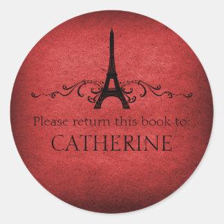 Vintage French Flourish Stickers, Red Round Sticker