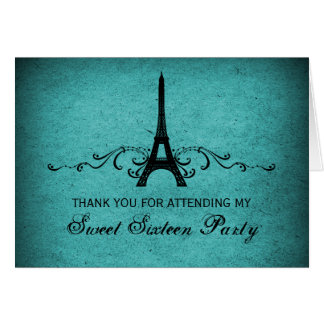 Vintage French Flourish Sweet 16 Thank You Card