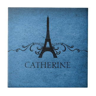 Vintage French Flourish Tile, Blue Tile