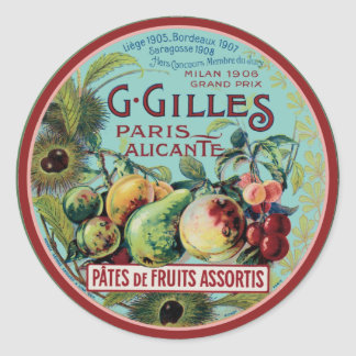 Vintage French Fruit Label Classic Round Sticker