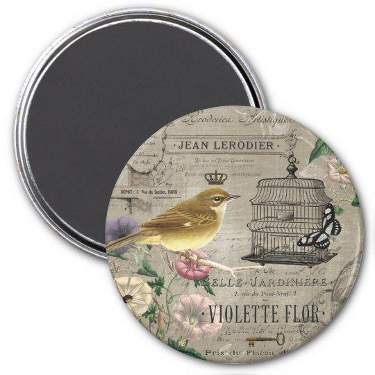 Vintage French garden bird magnet