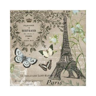 Vintage French garden Eiffel Tower stretchedcanvas Stretched Canvas Print