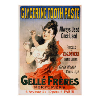 Vintage French Glycerine Tooth Paste Advertisement Poster