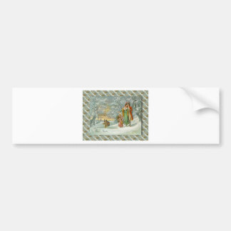 Vintage French Greetings, A walk in the forest Bumper Stickers